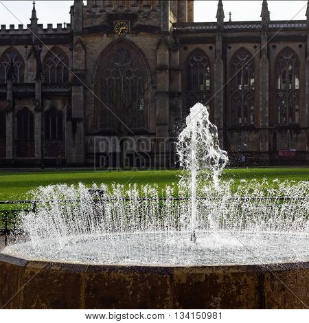 Bristol Cathedral, College Green and Water Fountain, Bristol, UK