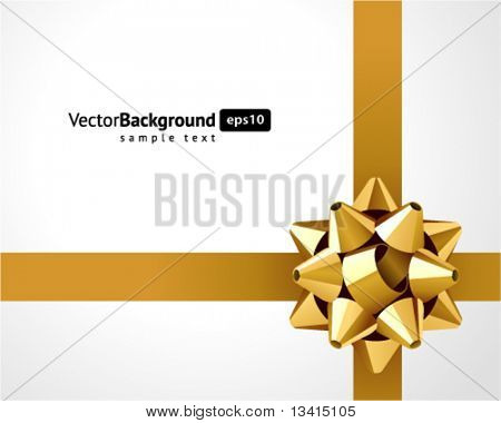 Gift gold bow vector background. Eps 10