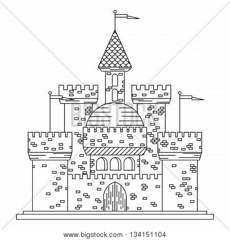 Fairytale royal thin line castle or palace building with various windows, towers and turrets with battlements and flags. Children book, adventure, medieval history themes design