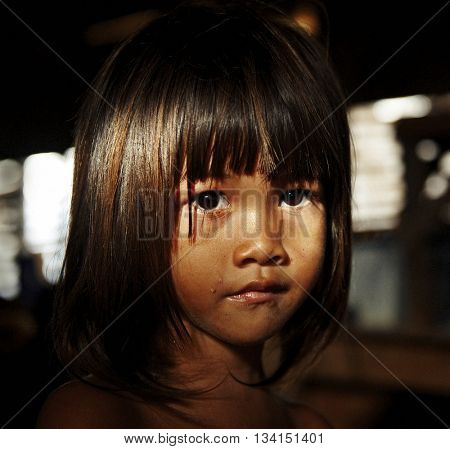 Cute Shy Little Girl Concept