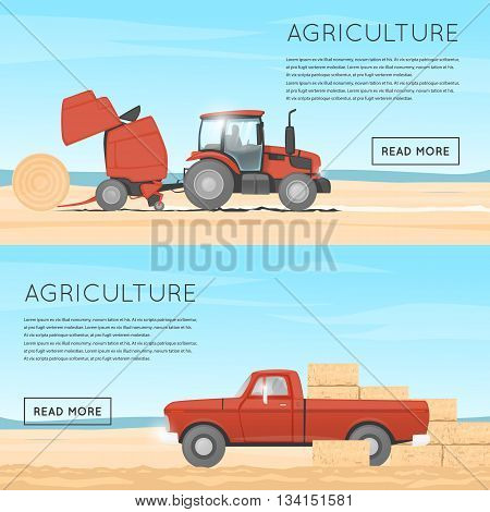 Tractor and round baler. Pickup straw bale. Tractor harvesting straw in the field. Farm. Agricultural vehicles. Harvesting, agriculture. Equipment for agriculture. Flat design vector illustration.