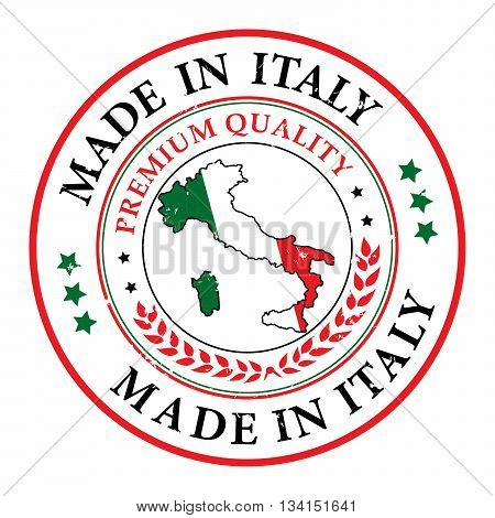 Made in Italy. Premium Quality - Grunge stamp with the map of Italy and Italian Flag. Print colors used