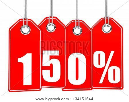 Discount 150 Percent Off. 3D Illustration.