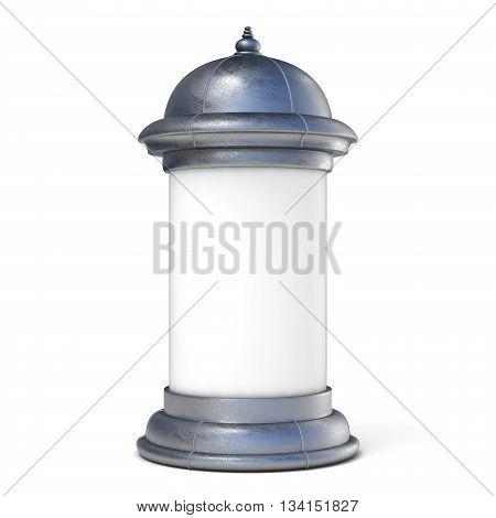 Blank advertising column. 3D render illustration isolated on white background