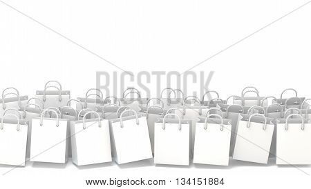 White blank shopping bags. 3D render illustration isolated on white background