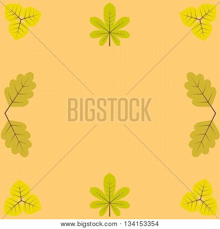 template, blanks for greetings and recordings, surrounded by yellow leaves of chestnut, birch and oak.