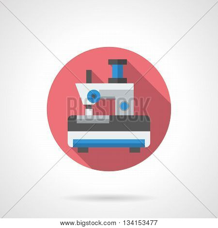 Small mini sewing machine. Toy appliances for fun children games. Making clothes for dolls. Round flat color style vector icon.