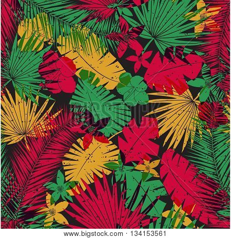 Seamless tropical jungle pattern with leaves, plants and flowers. Retro offset print effect, color overlay, anaglyph. Hibiscus, ferns and tropical foliage.