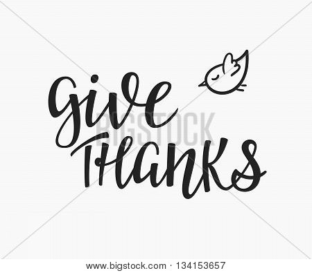 Thank you Friendship Family Positive quote thanksgiving lettering. Calligraphy postcard or poster graphic design typography element. Hand written vector valentines day postcard. Give thanks