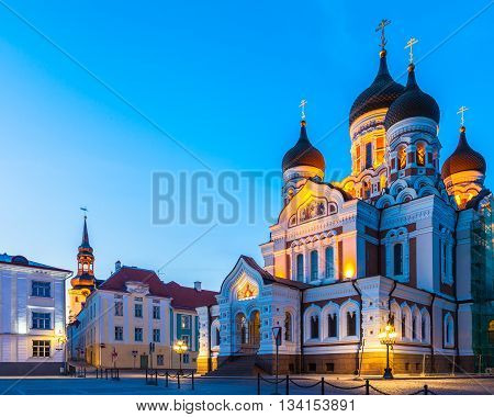 Alexander Nevsky Cathedral At Twilight In Old City Of Tallinn, Estonia.