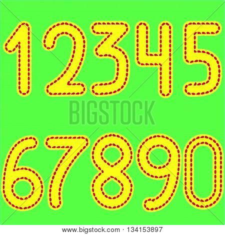 yellow numbers from 0 to 9, stitched red thread on light green background