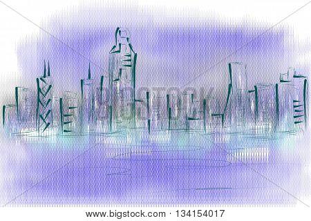 hong kong skyline. abstract illustraton on veknicolor background