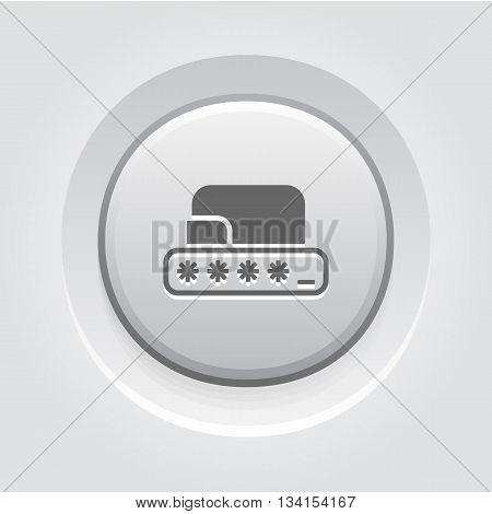 Grey Button Design. Modern Flat Digital Wallet Security concept Illustration. Mobile banking, online finance, e-commerce banner template. For mobile app, web, blog post.