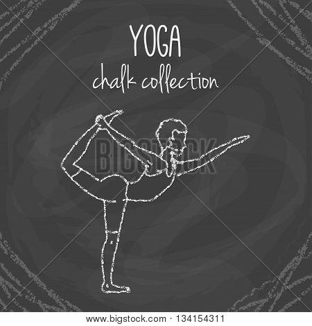 Vector yoga poses. Chalk asana illustrations on blackboard. International yoga day.