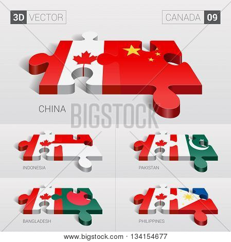 Canada and China, Indonesia, Pakistan, Bangladesh, Philippines Flag. 3d vector puzzle. Set 09.