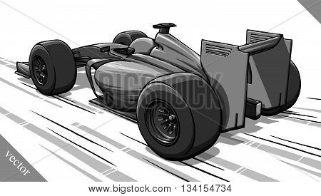 back view funny fast cartoon formula race car vector illustration
