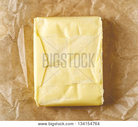 Fresh Butter On Pergament Paper, From Above