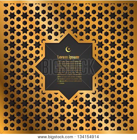 gold label ramadan kareem greeting card on islamic pattern background