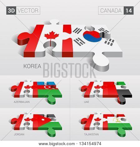 Canada and Korea, Azerbaijan, UAE, Jordan, Tajikistan Flag. 3d vector puzzle. Set 14.
