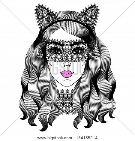 Beautiful woman in lace mask. Girl with cat ears. Fashion girl with curly long hair. Vector illustration