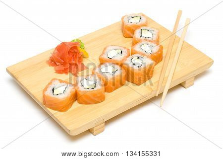 Sushi Roll with Salmon Isolated on White