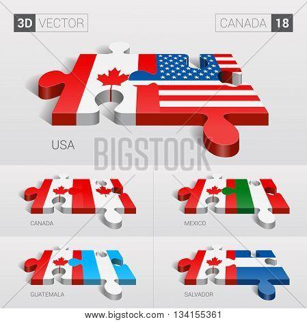Canada and USA, Canada, Mexico, Guatemala, Salvador Flag. 3d vector puzzle. Set 18.