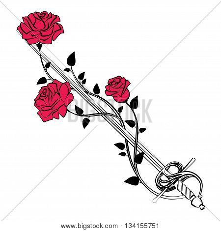 Decorative roses with sword. Blade entwined roses. Floral design elements. Vector illustration