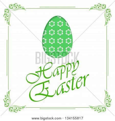 Green Easter egg silhouette with flowers isolated on white ant Easter text