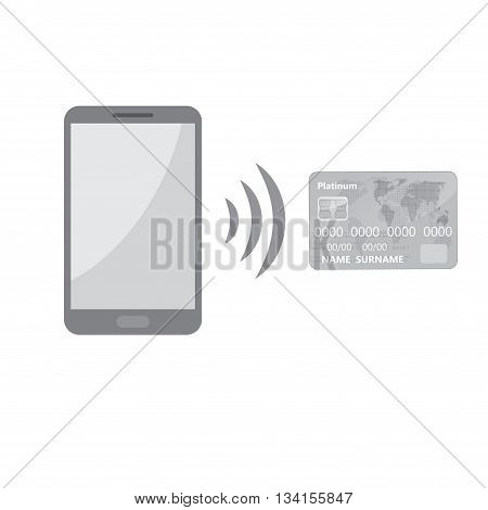 Abstract gray mobile phone with credit card isolated on white background