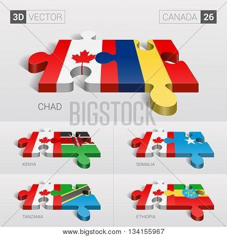 Canada and Chad, Kenya, Somalia, Tanzania, Ethiopia Flag. 3d vector puzzle. Set 26.