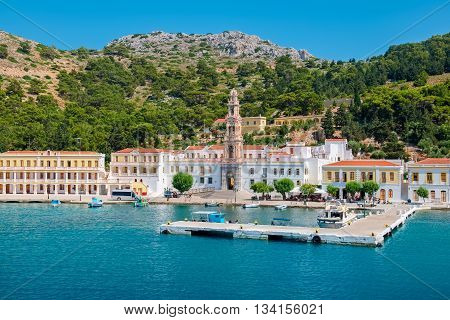 View Monastery of the Archangel Michael at Panormitis. Island of Symi Greece