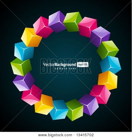 Fly colorful 3d cubes vector background. Eps 10