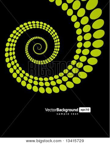 Abstract spiral from circles splat vector background