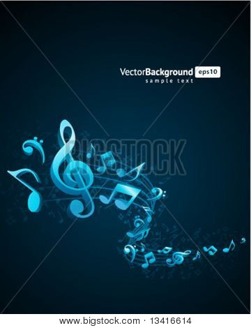 Music background with fly notes