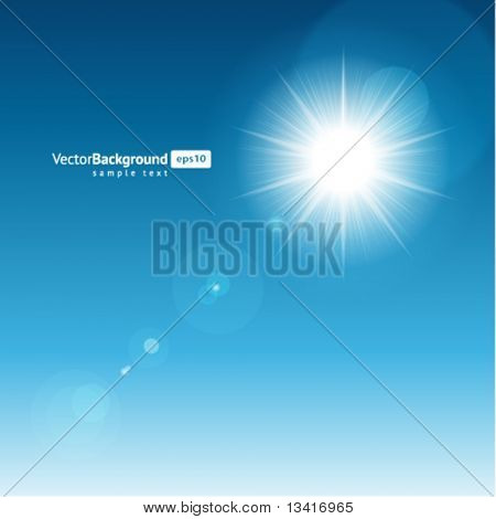 Sun with lens flare vector background