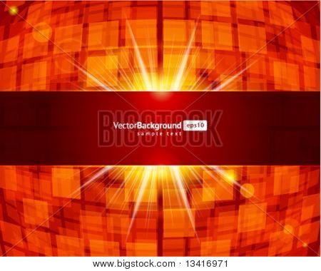 Abstract technology squares with lens flare vector background