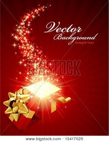 Fondo de vector de Navidad con regalo abierto