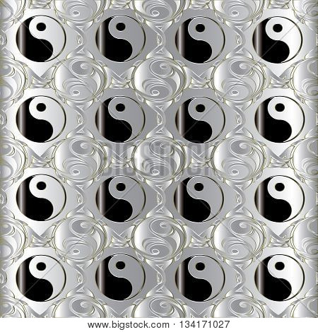 Seamless pattern with chinese Yin and yang symbol. Chinese symbol of natural dualities and contrary forces.Yin yang is symbol of harmony, balance and feng shui.