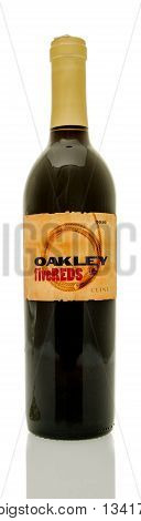 Winneconne WI - 8 June 2016: Bottle of Cline oakley fivereds wine on an isolated background