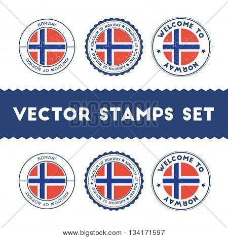 Norwegian Flag Rubber Stamps Set. National Flags Grunge Stamps. Country Round Badges Collection.