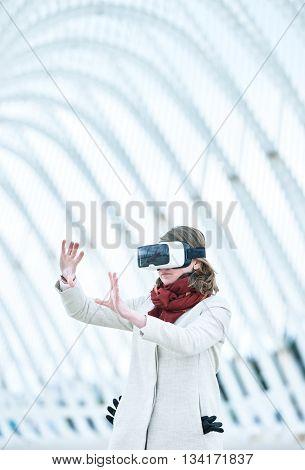 Woman Wearing A Virtual Reality Headset,
