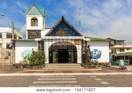 Puerto Ayora Santa Cruz Ecuador - April 11 2016: church Parroquia Franciscana Santa Marianita Puerto Ayora Santa Cruz island Galapagos Ecuador is located in front of melacon just in the main square of the town.