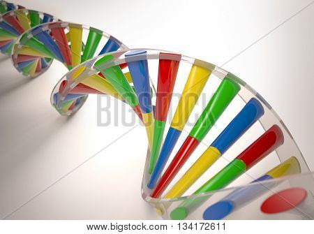 3D illustration colorful dna concept of genetic engineering or genetic modification.