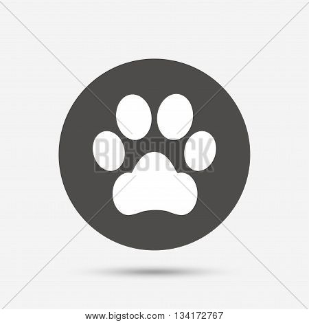 Dog paw sign icon. Pets symbol. Gray circle button with icon. Vector