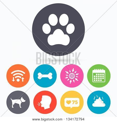 Wifi, like counter and calendar icons. Pets icons. Dog paw and feces signs. Clean up after pets. Pets food. Human talk, go to web.
