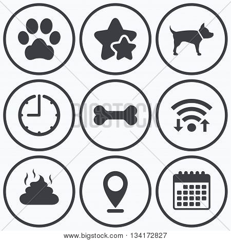 Clock, wifi and stars icons. Pets icons. Dog paw and feces signs. Clean up after pets. Pets food. Calendar symbol.