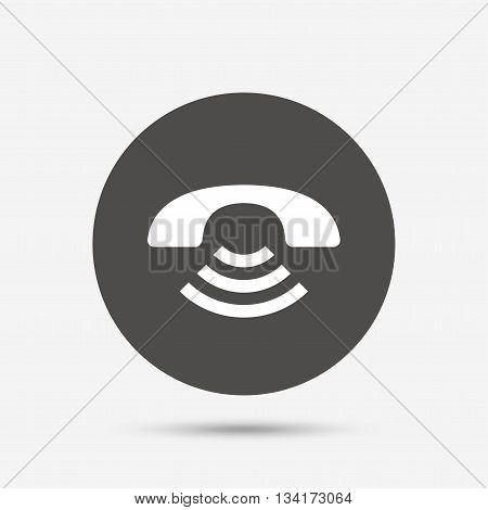 Phone sign icon. Support symbol. Call center. Gray circle button with icon. Vector