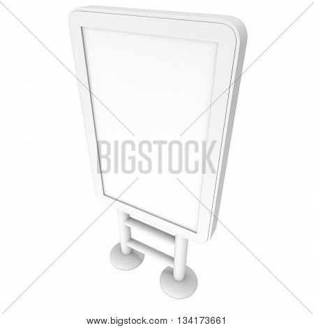 LCD Screen Lightbox Floor Stand. Blank Trade Show Booth. 3d render of lcd screen isolated on white background. High Resolution Light Box. Ad template for your expo design.