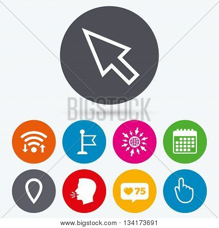 Wifi, like counter and calendar icons. Mouse cursor icon. Hand or Flag pointer symbols. Map location marker sign. Human talk, go to web.