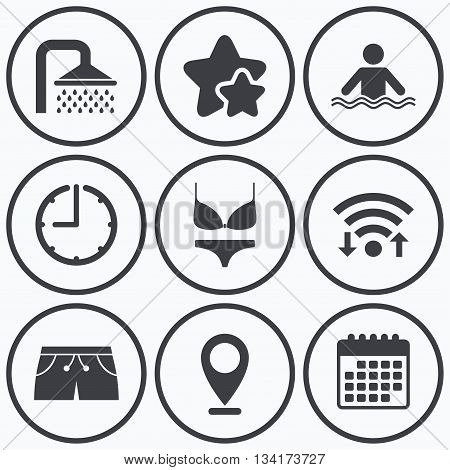 Clock, wifi and stars icons. Swimming pool icons. Shower water drops and swimwear symbols. Human stands in sea waves sign. Trunks and women underwear. Calendar symbol.